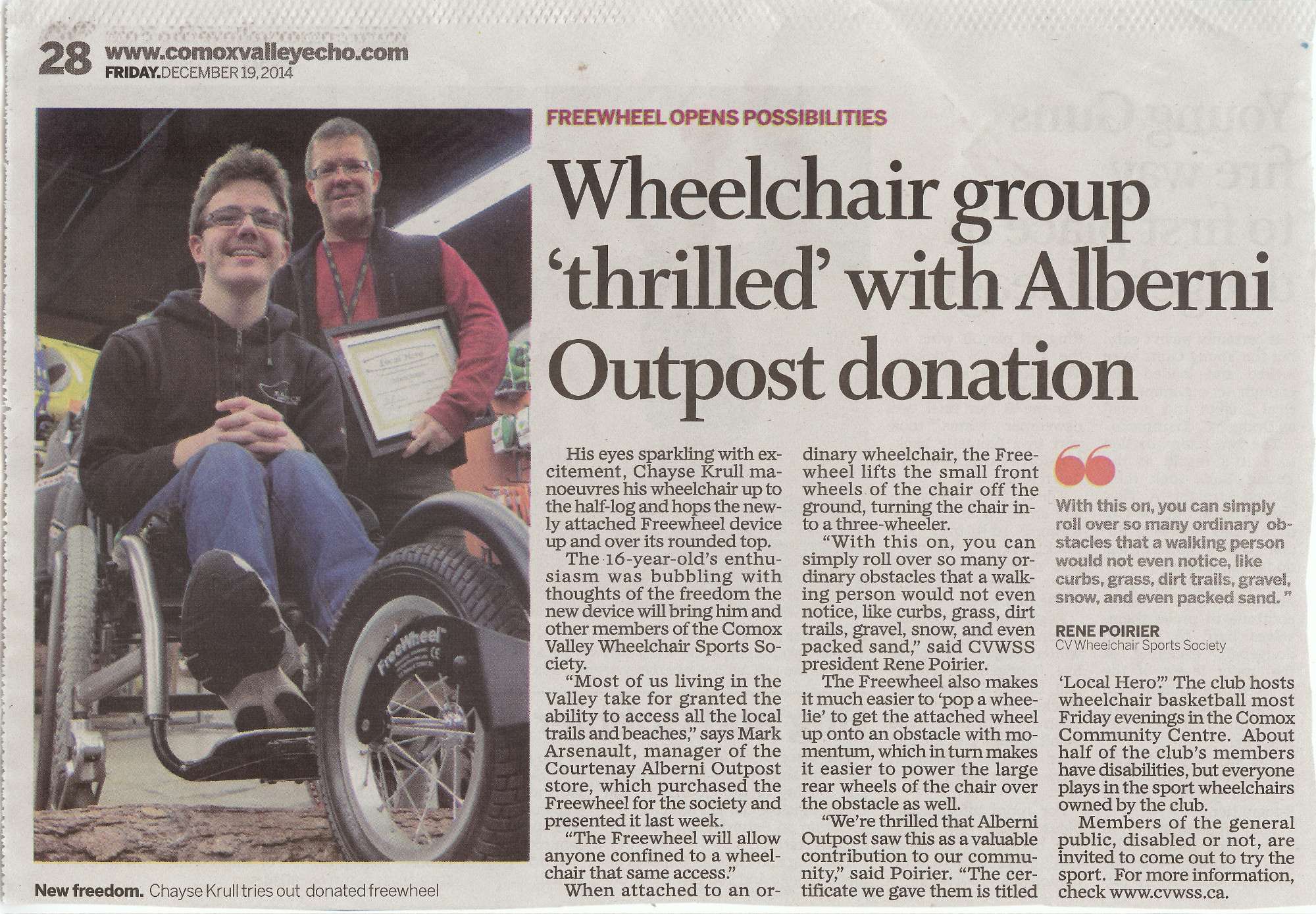 news article regarding the donation from Alberni Outpost